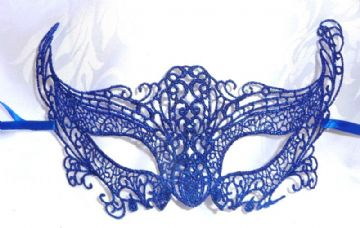 Genuine Venetian Blue Burano Lace half Mask